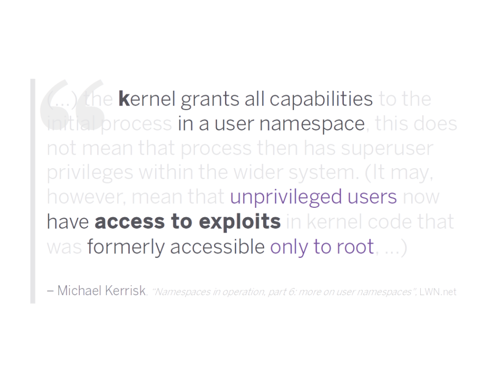 Kernel capabilities in user namespaces